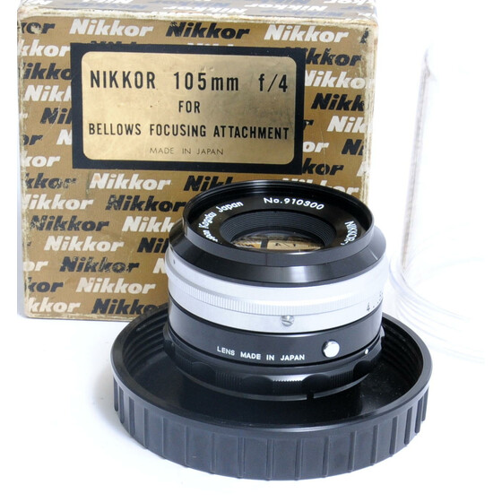 Nikkor-P 1:4 f= 105mm Nippon Kogaku Japan for Bellows Focusing Attachment PVC case