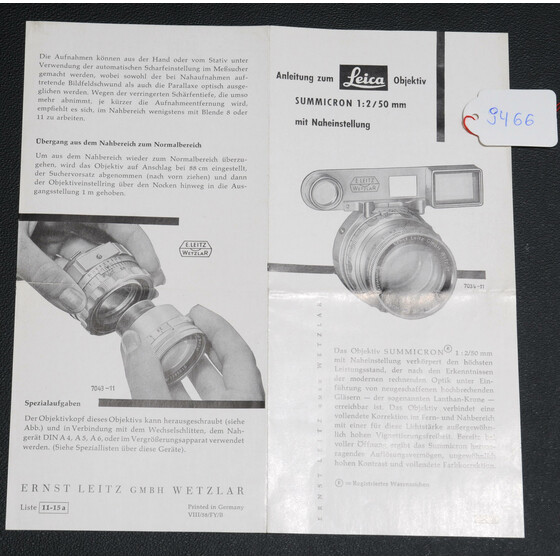 Original sales brochure for Leica Summicron 1:2/50mm  11-15a  printed 1958