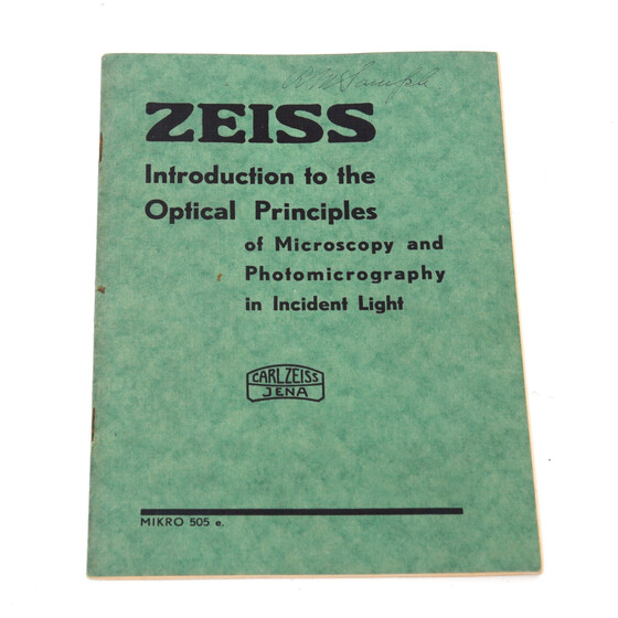 Carl Zeiss Jena Introduction to the Optical Principles of Microscopy Micro 505 e. 1937