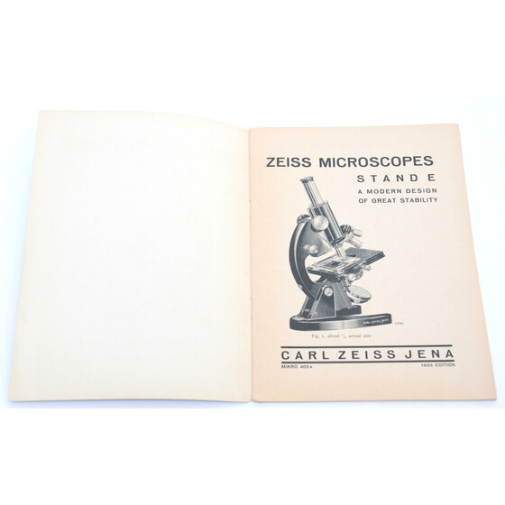 Zeiss Jena Microscopes Stand E Micro 405 e catalog brochure Germany 1933
