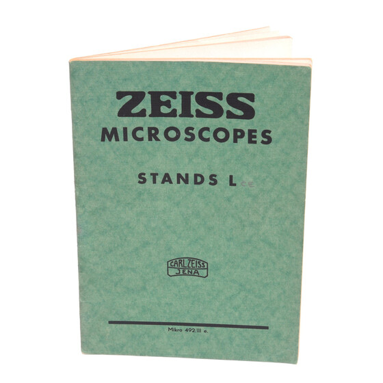 Zeiss Jena Microscopes Stands L  Micro 492/III e.  catalog brochure Germany H.XII.1939 - Roo