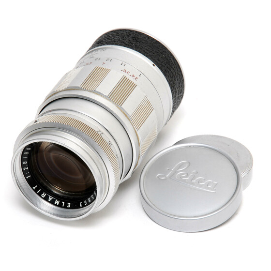 Leitz Elmarit 2.8/90mm lens for Leica Screw Mount w. caps
