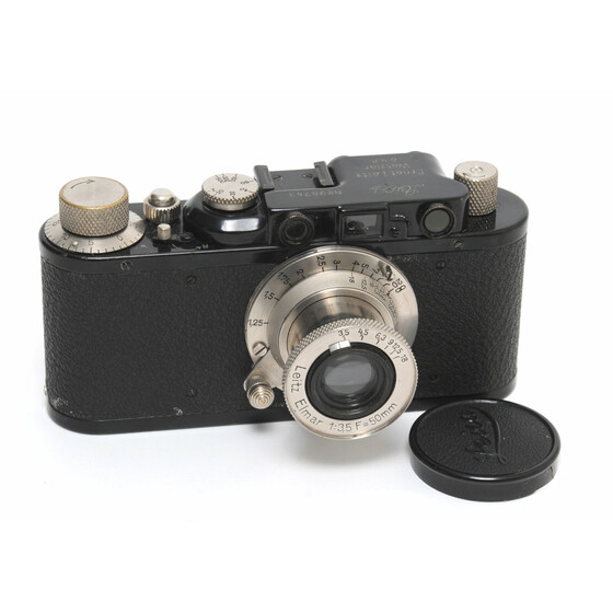 Leica II camera black body  with Elmar 3.5/50mm Nickel full working Screw Mount