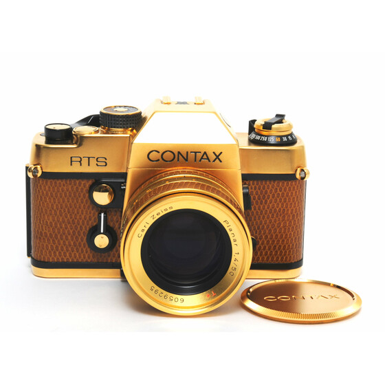 Contax RTS camera Gold 50th Anniversary w. Zeiss Planar 50mm f/1.4 Mint Condition