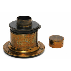 Antique Brass Lens - no name - 4 x5 Inch w. Flange Wheel...