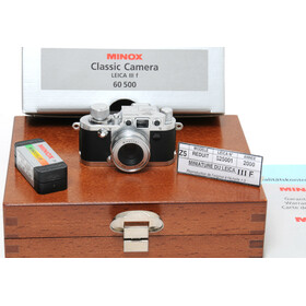Minox Classic Camera Leica III f with original minox flash, Miniature with wood Box BOXED