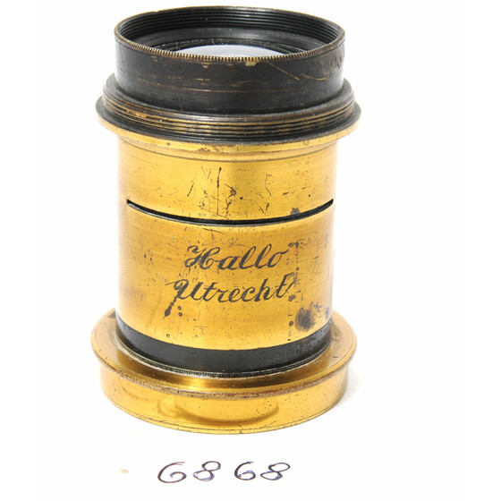 Vintage Brass Lens - no name -  lens is engraved with  Hallo Utrecht